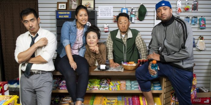 The cast of the Pacific Theatre production of Kim's Convenience: Lee Shorten, Jessie Liang, Maki Yi, James Yi, and Tré Cotten. Photo by Emily Cooper.