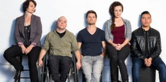 Adam Grant Warren, Luisa Jojic, Bob Frazer, Corina Akeson, and Braiden Houle in the Touchstone Theatre production of Kill Me Now. Photo by Emily Cooper.
