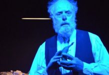 Linden Banks in the Seven Tyrants Theatre production of Krapp's Last Tape.