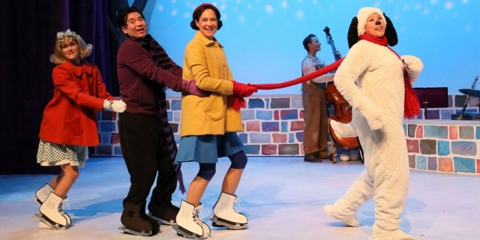 Rebecca Talbot (Sally), Kevin Takahide Lee (Schroeder), Emilie Leclerc (Lucy) and Cecilly Day (Snoopy) in the Carousel Theatre for Young People production of A Charlie Brown Holiday Double Bill. Photo by Tim Matheson.