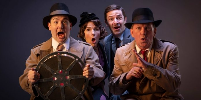 Kazz Leskard, Ella Simon, Jay Hindle, and David Marr in The 39 Steps. Photo by David Cooper.
