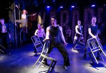 Erin Palm as Sally Bowles and the Kit Kat Klub Boys in the Studio 58 production of Cabaret. Photo by David Cooper.