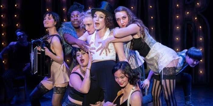 Paige Fraser as The Emcee and the Kit Kat Klub Girls in the Studio 58 production of Cabaret. Photo by David Cooper.