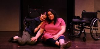 Danielle Klaudt and Emily Grace Brook in the Realwheels Theatre production of Act of Faith. Photo by Caspar Ryan.