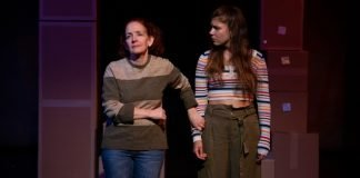 Eileen Barrett and Meaghan Chenosky in the Zee Zee Theatre production of Dead People's Things. Photo by Tina Krueger Kulic.