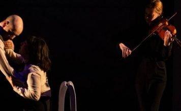 Anton Lipovetsky, Christine Quintana and Molly MacKinnon in the Delinquent Theatre production of Never The Last. Photo by Bold Rezolution Studio.
