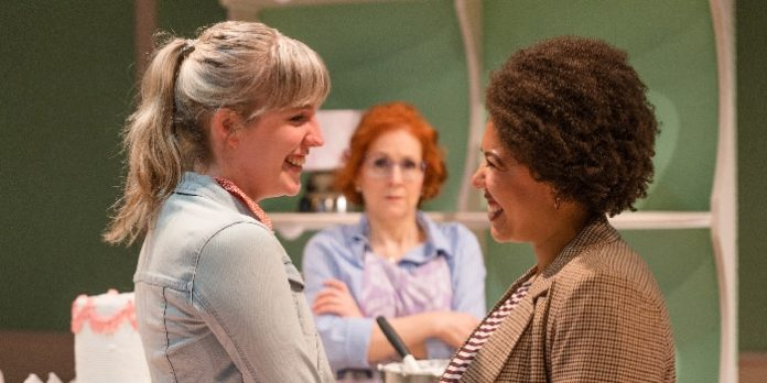 Stephanie Elgersma, Erla Faye Forsyth, and Cecilly Day in the Pacific Theatre production of The Cake. Photo by Javier Sotres.
