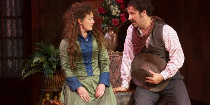 Jennifer Lines as Kate and Andrew McNee as Petruchio in The Taming of the Shrew. Photo by Tim Matheson.