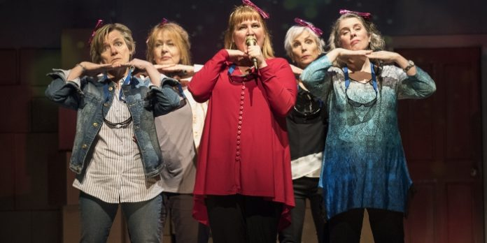 It is the collective of Robin Nicol, Barbara Pollard, Deborah Williams, Jill Daum, and Alison Kelly who are this show's strength, and their visible connection its strongest asset. Photo by Emily Cooper.