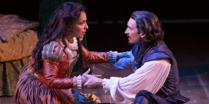 Ghazal Azarbad & Charlie Gallant in the Bard on the Beach Shakespeare Festival production of Shakespeare in Love. Photo by Tim Matheson.