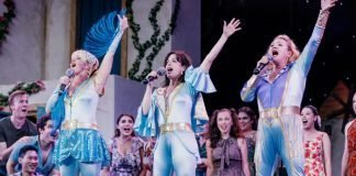 Lori Ashton Zondag, Caitriona Murphy and Sheryl Anne Wheaton in the Theatre Under the Stars production of Mamma Mia! Photo by Lindsay Elliott.