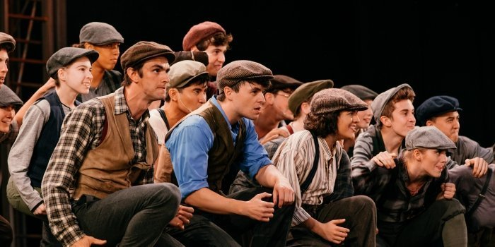 The cast of Disney's Newsies. Photo by Lindsay Elliott.