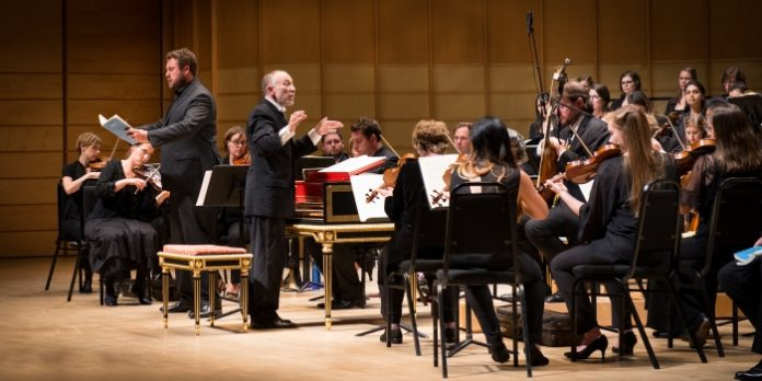 Alto Alex Potter sings while Alexander Weimann conducts the Pacific Baroque Orchestra in the final concert at this year's Vancouver Bach Festival. Photo by Jan Gates.