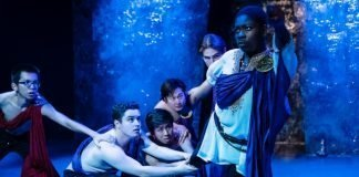 Cameron Peal, Nicholas Elia, Isaac Li, Jimmy Jinpyo Hong, Liam Stewart-Kanigan, and Ivy Charles in the Studio 58 production of Antony & Cleopatra. Photo by Ross Den Otter, Pink Monkey Studios.