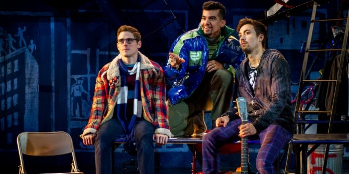 Cody Jenkins, Juan Luis Espinal, and Coleman Cummings in the Rent 20th Anniversary Tour. Photo by Amy Boyle.