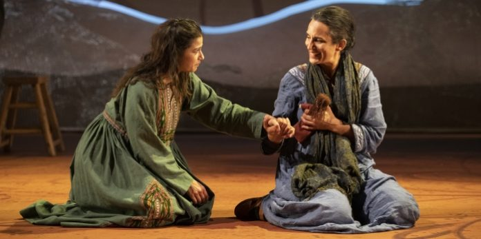 Anita Majumdar as Laila and Deena Aziz as Mariam in the Arts Club Theatre Company / Royal Manitoba Theatre Centre presentation of A Thousand Splendid Suns. Photo by David Cooper.
