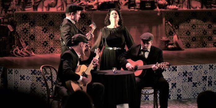Sara Marreiros as the ghost of Amália de Piedade Rebordão Rodrigues in Fado - The Saddest Music in the World. Photo by Jam Hamidi.
