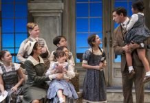 Members of the cast of the Arts Club Theatre Company production of The Sound of Music. Set and costume design by Drew Facey and lighting design by Itai Erdal. Photo by Emily Cooper.