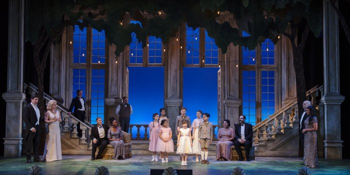 The cast of the Arts Club Theatre Company production of The Sound of Music. Set and costume design by Drew Facey and lighting design by Itai Erdal. Photo by Emily Cooper.
