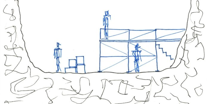 A concept drawing for Timothy Findley's The Wars by scenic designer Cecilia Vadala.
