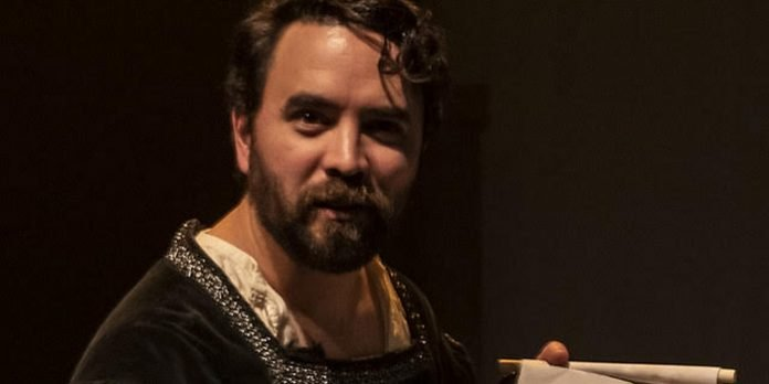 Brent Hirose as Macbeth in the Literary Larceny Collective production of The Tragic Comedy of Macbeth. Photo by Nancy Caldwell.