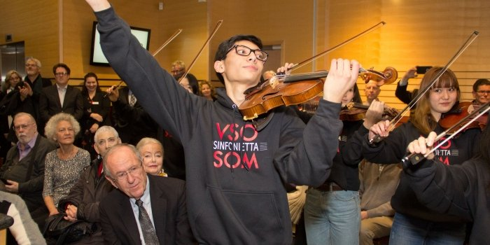 Co-concertmaster Kai Chow and members of the VSOSoM Sinfonietta String Ensemble performed at the ceremony. Photo courtesy of Vancouver Symphony Orchestra.
