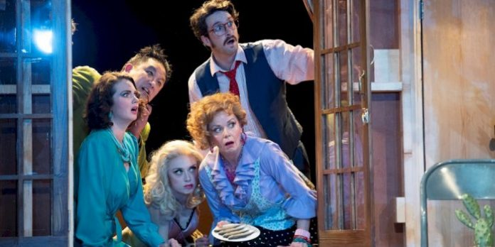 Members of the cast of the Arts Club Theatre Company production of Noises Off. Photo by David Cooper.