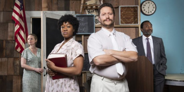 Rebecca deBoer, Celia Aloma, Rob Salvador, and Anthony Santiago in the Pacific Theatre production of Best of Enemies. Photo by Emily Cooper.