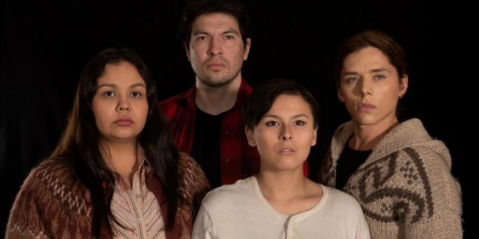 The cast (Erica Wilson, Akalu, Ashley Cook and Nick Benz) of the Castlereigh Theatre Project production of God's Lake. Photo by Photo by Astros Media.