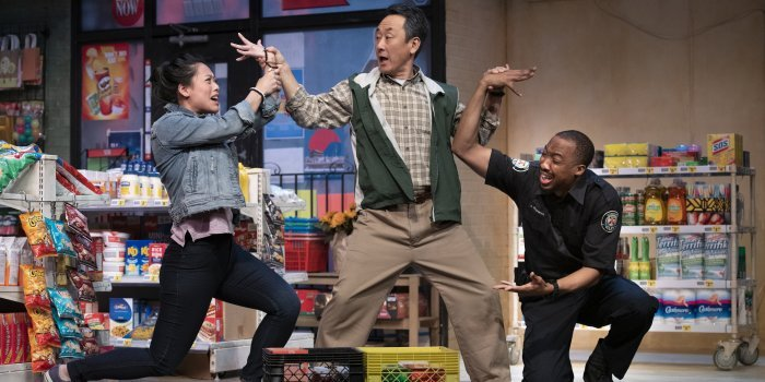 Jessie Liang, James Yi, and Andrew Creightney in Kim's Convenience. Photo by David Cooper.