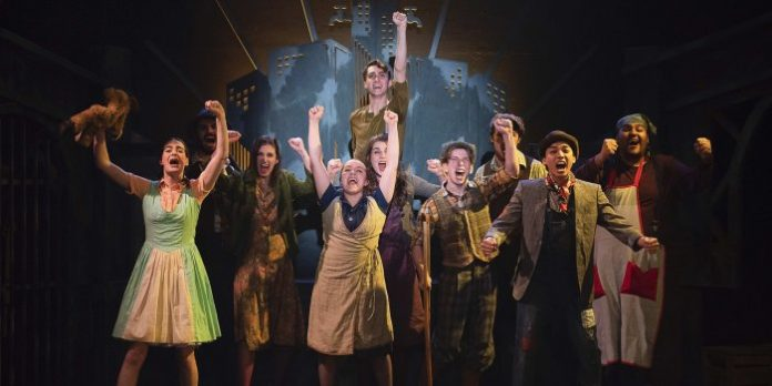 Members of the cast of the Studio 58 production of Urinetown. Photo by Emily Cooper.