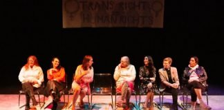 Members of the cast of The Frank Theatre and Zee Zee Theatre co-production of Trans Scripts, Part I: The Women. Left to right: Carolynn Dimmer, Sabrina Symington, Morgane Oger, Josie Boyce, Julie Vu, Amy Fox, Quanah Style. Photo by Tina Krueger Kulic.