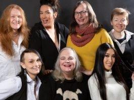 The Vancouver cast of Trans Scripts, Part I: The Women: Carolynn Dimmer, Quanah Style, Morgane Oger, Amy Fox, Sabrina Symington, Josie Boyce, Julie Vu. Photo by Tina Krueger Kulic.