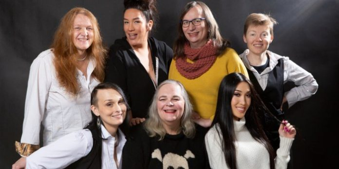 The Vancouver cast of Trans Scripts, Part I: The Women: Carolynn Dimmer, Quanah Style, Morgane Oger, Amy Fox, Sabrina Symington, Josie Boyce, Julie Vu. Photo by Tina Krueger Kulic.