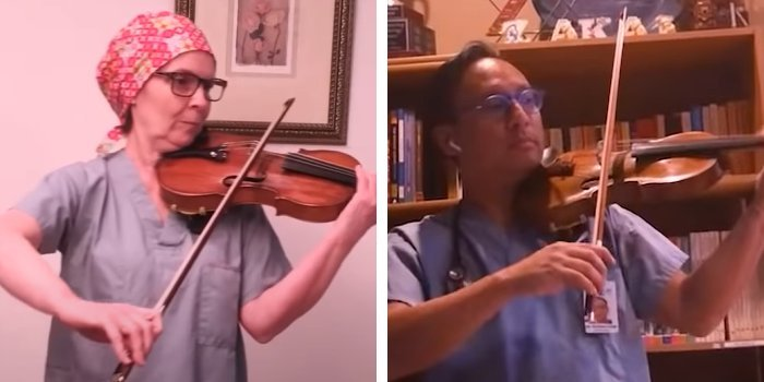 In a screenshot from the video, Drs. Julia Reynolds (left) and Holden Chow (right) perform and are joined by dozens of other healthcare workers from Lions Gate Hospital, Villa Cathay Care Home, St. Paul's Hospital, Vancouver General Hospital, Royal Columbian Hospital, Eagle Ridge Hospital, Surrey Memorial Hospital, UBC Hospital, Richmond Hospital, BC Emergency Health Services and GF Strong Rehabilitation Centre.