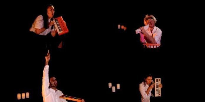 A screenshot from the digital stream of Do You Want What I Have Got? A Craigslist Cantata featuring Amanda Sum, Josh Epstein, Chirag Naik and Meaghan Chenosky. Missing is Andrew Wheeler.